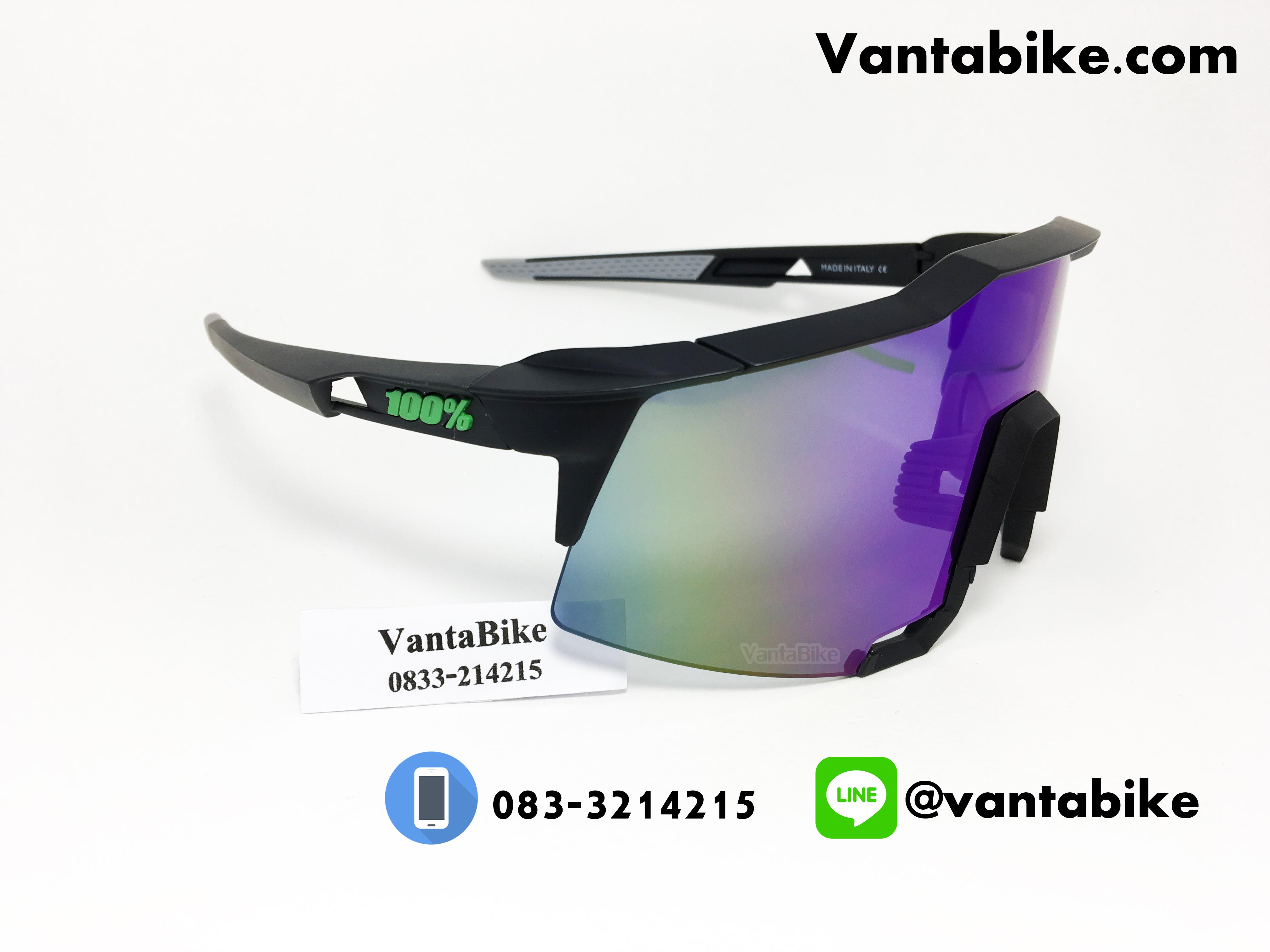 แว่นตาปั่นจักรยาน SPEEDCRAFT 100% [สีดำ-เขียว]