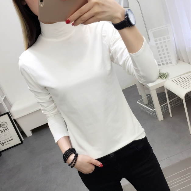เสื้อแฟชั่น คอปีน แขนยาว สีขาว