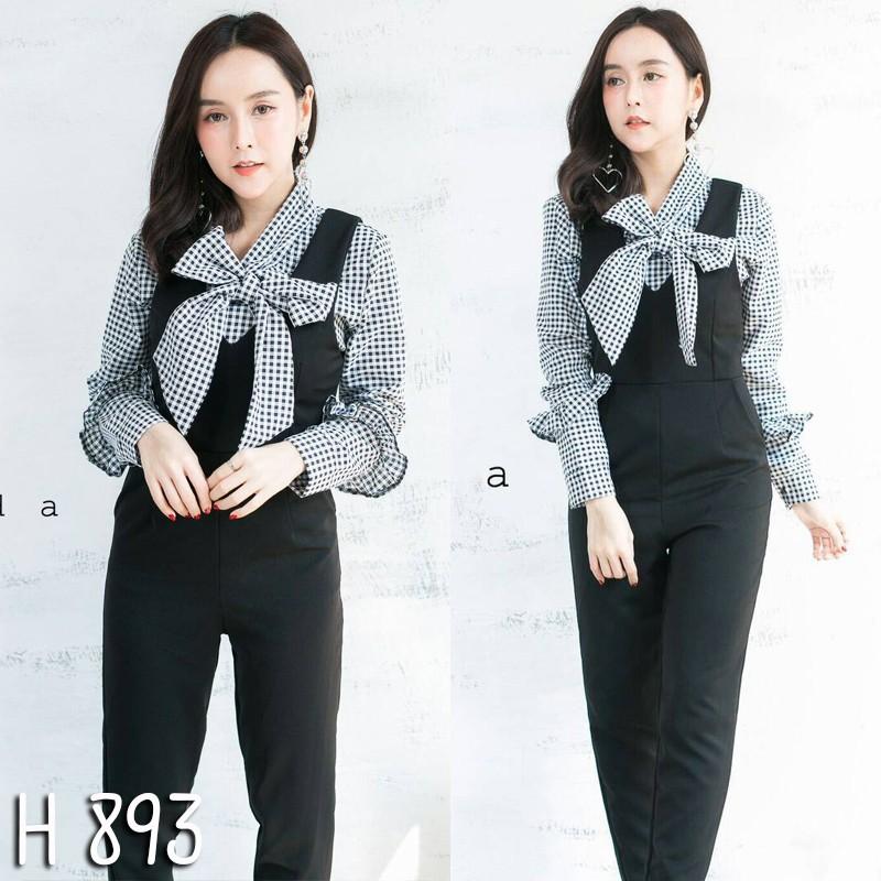 เอี้ยม+เสื้อลายสก็อต-สีดำ