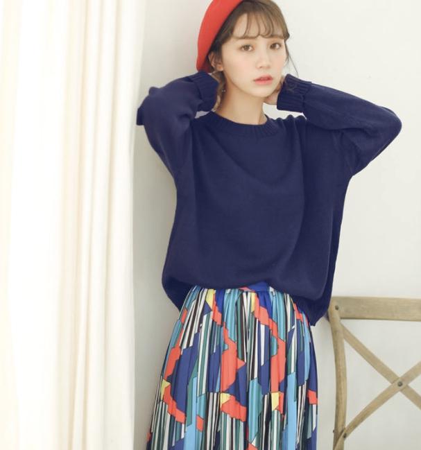 Sweater เสื้อสเวทเตอร์แขนยาว สีน้ำเงิน