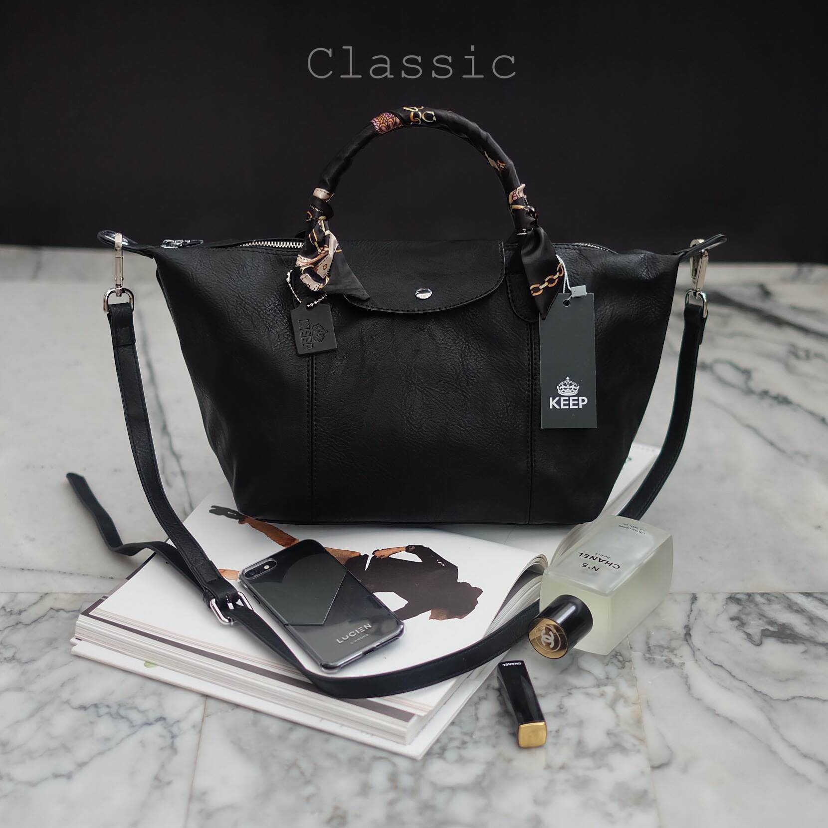KEEP ทรง longchamp รุ่น Duo Sister-สี Classic black
