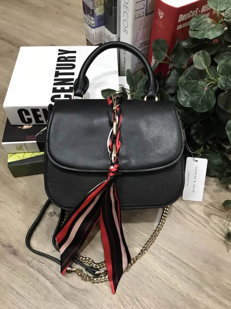 CHARLES & KEITH SCARF BUCKLE HANDBAG 2018
