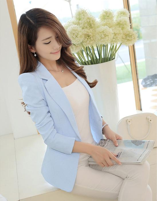 เสื้อสูท เสื้อคลุม ใส่ทำงาน สวยหวานแฟชั่นสไตล์เกาหลี สีฟ้า