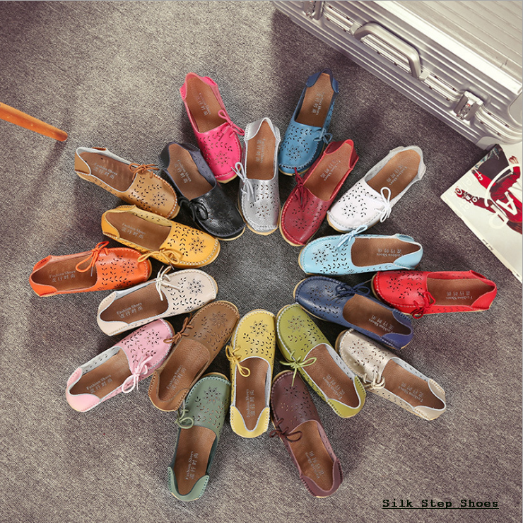 SK07 รองเท้าหนังนิ่มฉลุลายดอกไม้ผู้กเชือกด้านข้าง SIZE 35-44