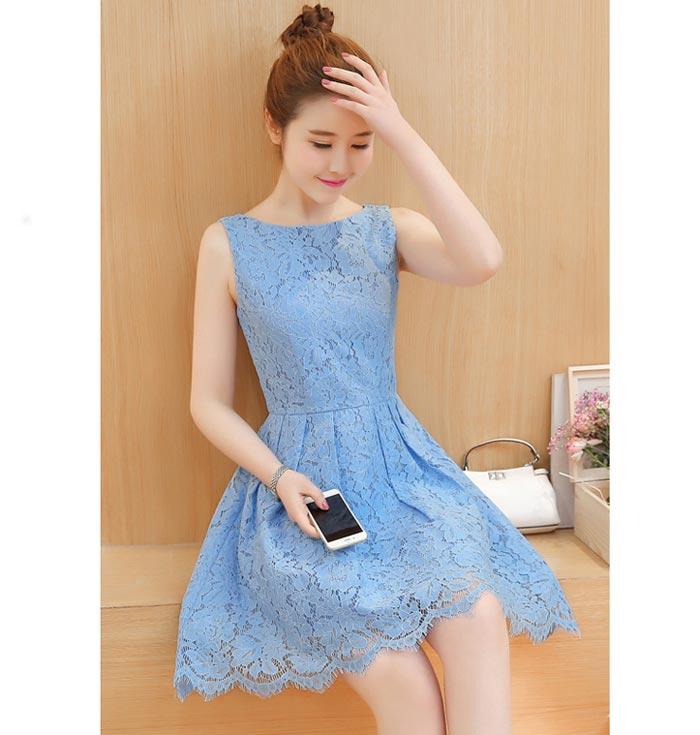 ชุดเดรสลูกไม้ ชุดผ้าลูกไม้สวยๆ น่ารักๆ แฟชั่นเกาหลี มีสีฟ้า เดรสลูกไม้ ส่งฟรี EMS แขนกุด ซิบหลัง มีซับใน ใส่สบายๆ