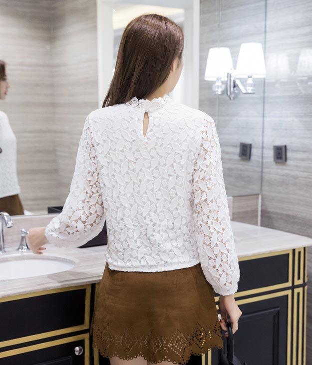 เสื้อลูกไม้สวยๆ แฟชั่นเกาหลี มีสีขาว สีเหลือง เสื้อขาวลูกไม้ลายสมัยใหม่ เก๋ๆ เสื้อลูกไม้ ส่งฟรี EMS ส่งฟรี EMS แขนยาว คอปิดฉลุลูกไม้ มีซับใน สไตล์สมัยใหม่ ใส่ได้หลายโอกาส แมทซ์ใส่กับกระโปรงหรือยีนส์ได้
