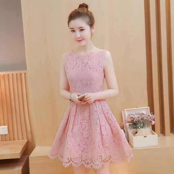 ชุดเดรสลูกไม้สีชมพูอมม่วงนิดๆ แขนกุด ชุดผ้าลูกไม้สั้นสวยๆ น่ารักๆ แฟชั่นเกาหลี