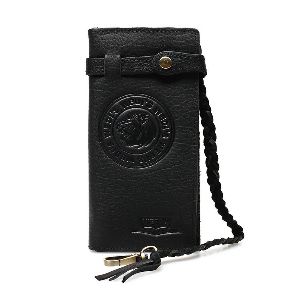 กระเป๋าสตางค์ผู้ชายทรงยาว พร้อมสายคล้องกระเป๋า ผลิตจากหนังวัวแท้ทั้งใบ สีดำ