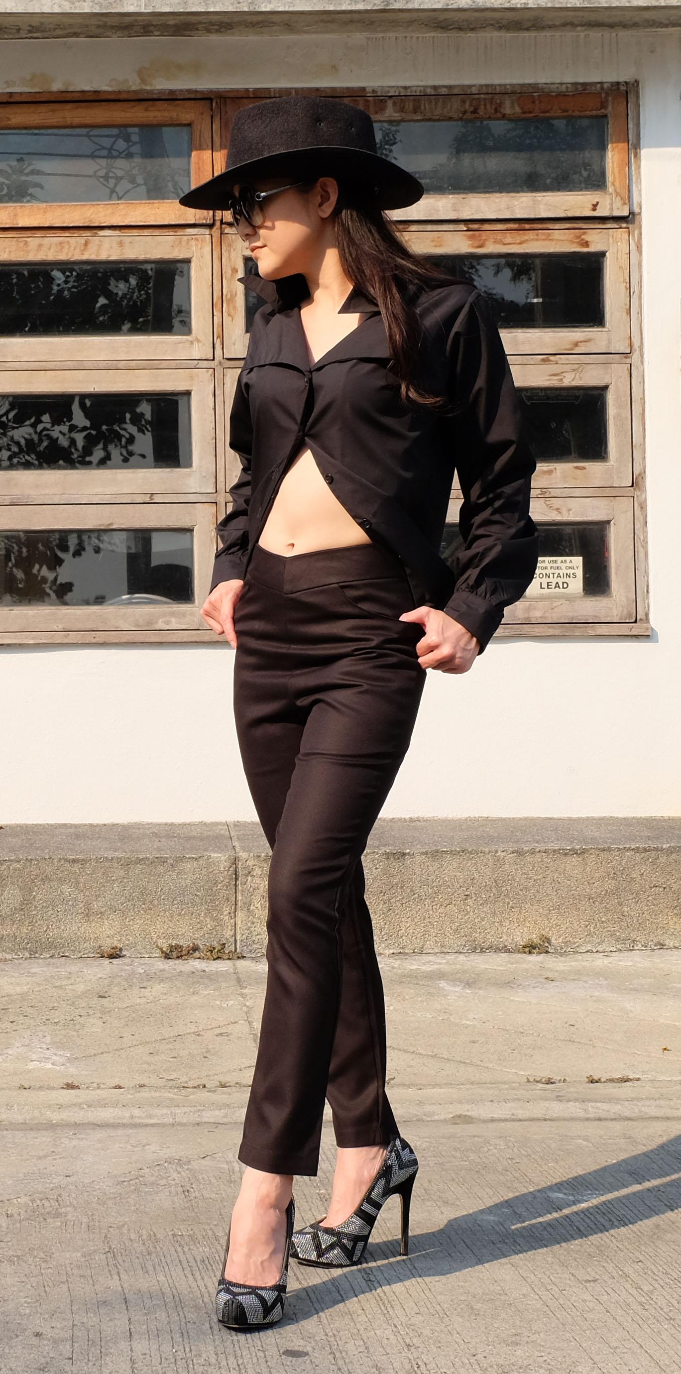 กางเกงขายาว ทรงเดฟ สีดำ Size S