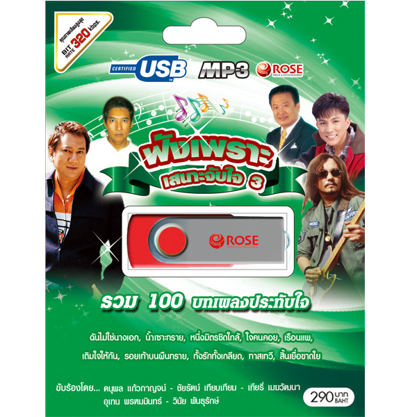 USB/100เพลง ฟังเพลงเพราะเสนาะจับใจ ชุด3/290