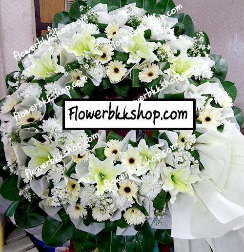 พวงหรีดดอกไม้สด รหัส WWR28