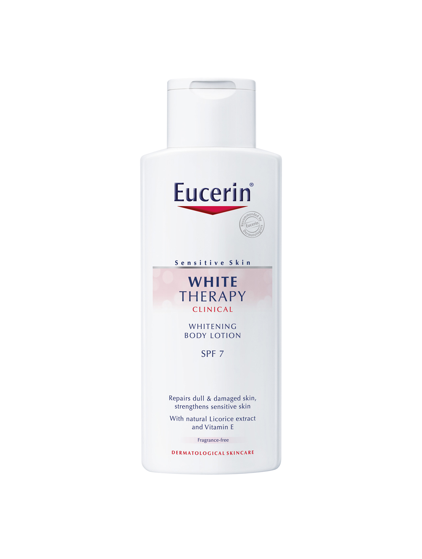 *Eucerin White Therapy Whitening Body Lotion (250 ml.) ช่วยลดการถูกทำร้ายจากแสงแดด และวิตามินอีฟื้นฟูและเพิ่มความชุ่มชื้น ลดเลือนจุดด่างดำและเซลล์ผิวคล้ำเสีย เพื่อผิวกระจ่างใส