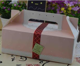 กล่องใส่คุ๊กกี้ ใส่ขนม สีชมพู แบบหูหิ้ว 5 กล่อง BAKE113