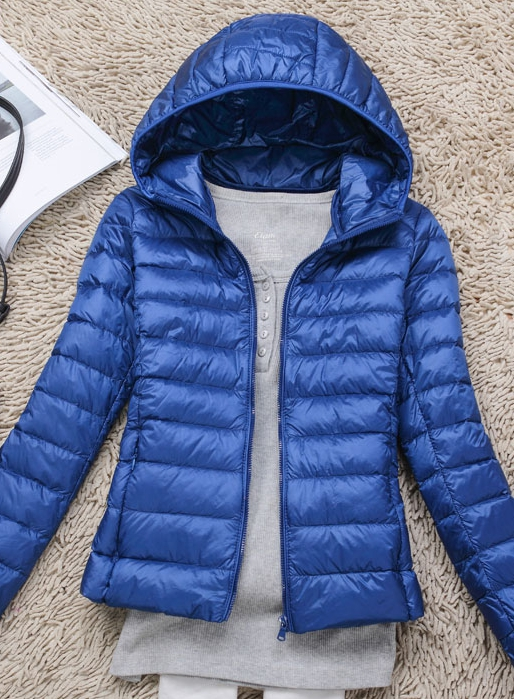 Women's Ultra light slim Down jacket ผสมขนเป็ด Duck down 90% !! (สีฟ้า)