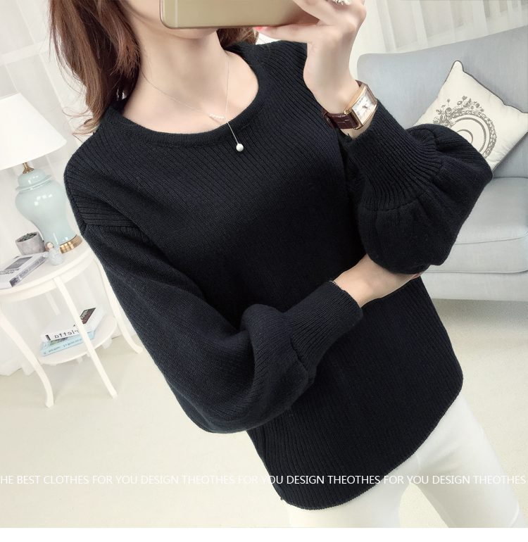 Loose lantarn sweater (สีดำ)