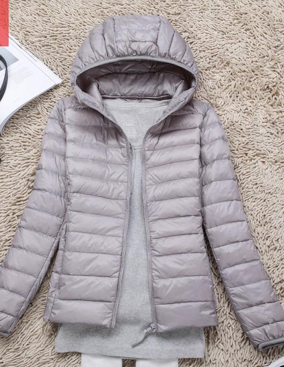 Women's Ultra light slim Down jacket ผสมขนเป็ด Duck down 90% !! (สีเทา)