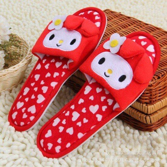 พร้อมส่ง :: รองเท้าใส่ในบ้าน My melody size 38-39 สีแดง