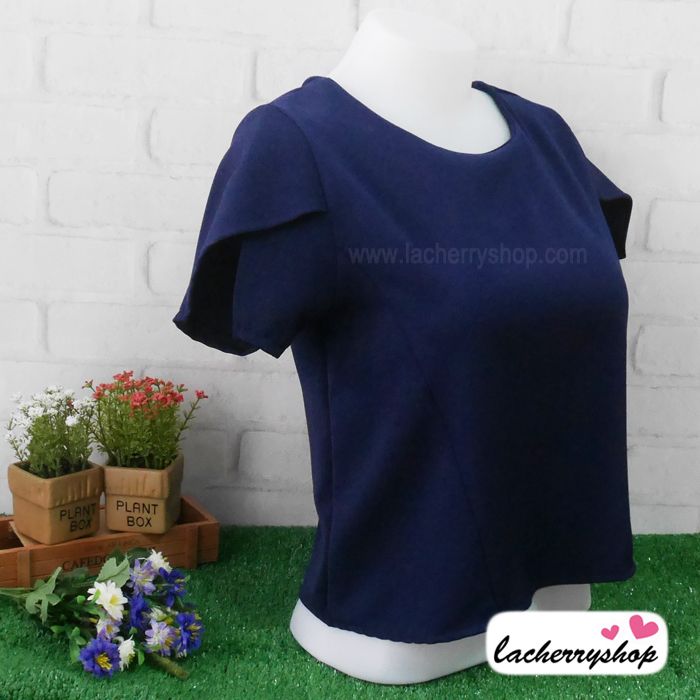 เสื้อผ้าแฟชั่น เสื้อทำงาน ผ้าฮานาโกะตัดแต่งแขนเก๋ๆ สีกรมท่า แบบสวยเรียบหรู สินค้าคุณภาพดี ราคาไม่แพง
