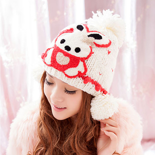 หมวกไหมพรมแฟชั่นเกาหลีพร้อมส่ง ทรงดีไซต์เก๋ แต่งจุก ปิดหู ด้านหน้าแต่งลายกระต่าย หมวกสีขาว