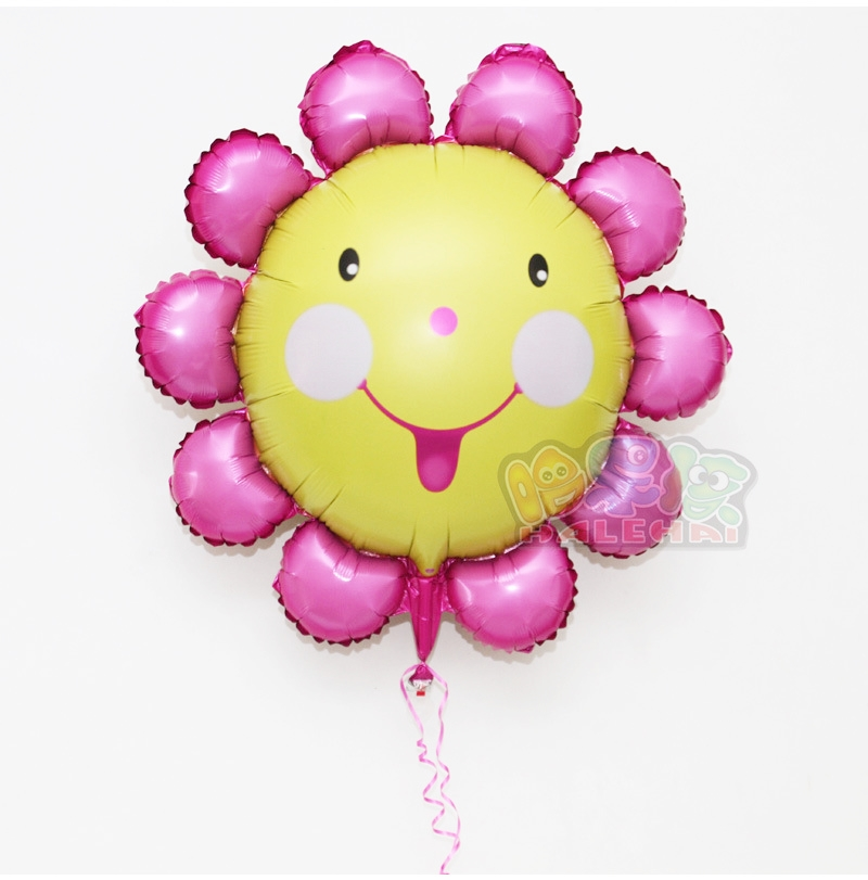 ลูกโป่งฟลอย์ Pink Flower หน้ายิ้ม ไซส์เล็ก - Pink Flower Small size Foil Balloon / Item No. TL-A074