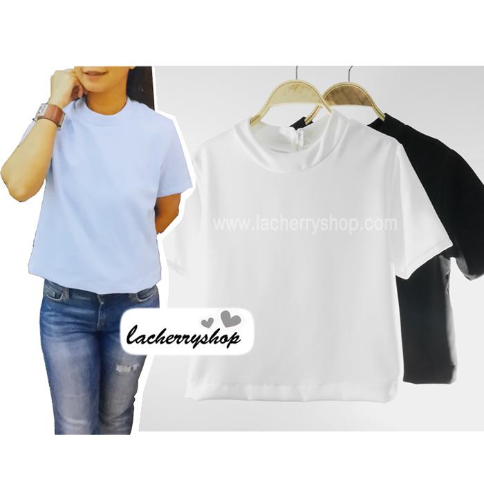 เสื้อแฟชั่น เสื้อทำงาน แบบสวยเรียบร้อย คอเต่า สีขาว เนื้อผ้าฮานาโกะคุณภาพดี ใส่ได้ทุกโอกาสราคาไม่แพง