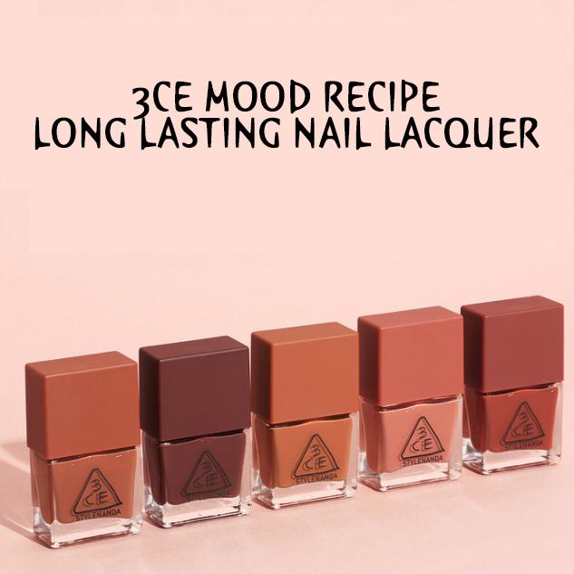 3CE Mood Recipe Long Lasting Nail Lacquer ยาทาเล็บโทนสีฤดูใบไม้ผลิ ราคาปลีก 70 บาท / ราคาส่ง 56 บาท