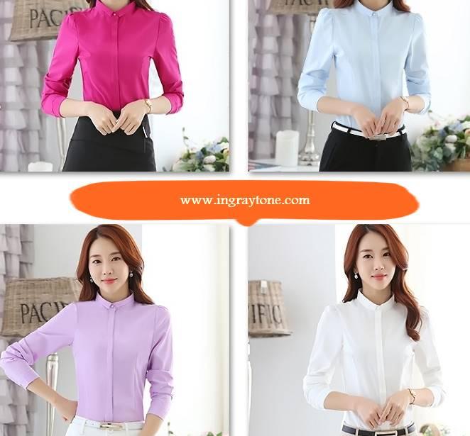 เล็กพิเศษ!!เสื้อเชิ้ตแขนยาวผู้หญิง คอจีนขอบเล็ก เข้ารูป size No.S-XXL สีขาว ฟ้า ชมพู ม่วง