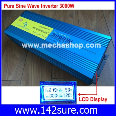 SIN012 อินเวอร์เตอร์ โซล่าเซลล์ Inverter 3000W Pure Sine Wave Inverter LCD Display 6000W Peak เครื่องแปลงไฟ 24VDC เป็นไฟฟ้าบ้าน 220VAC/50Hz (สินค้าPre-Order)