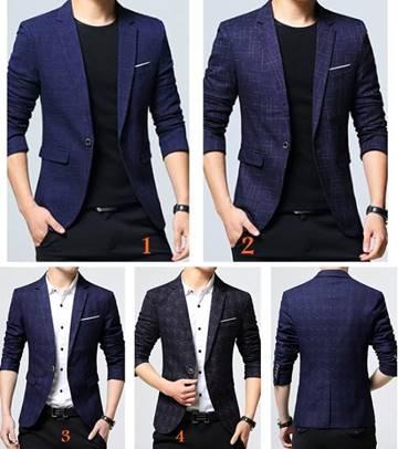 เล็ก+ใหญ่!!จองราคาพิเศษ!!เสื้อสูทแฟชั่นลายสก็อต สลิมฟิต ปกเปิด สีกรม ฟ้าเข้ม 1 2 3 4 Size No.33 35 37 39 41