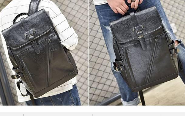 กระเป๋าหนังสะพาย โน้ตบุค ไอแพด เข็มขัดตั้ง รัดข้าง สี ดำ
