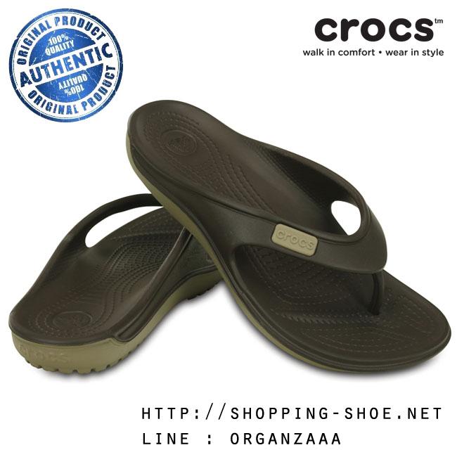 M7/W9 (25.5 cm.) : Crocs Duet Wave Flip - Espresso / Khaki ของแท้ Outlet ไทยและอเมริกา