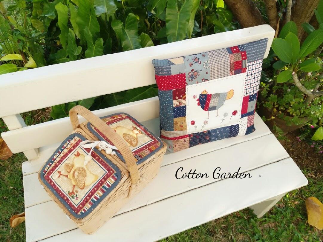 ตระกร้าสานปิคนิก ทำจากผ้าญี่ปุ่น มีผ้าบุด้านใน ใช้ใส่ของจุกจิก น่ารักที่สุด ขนาด