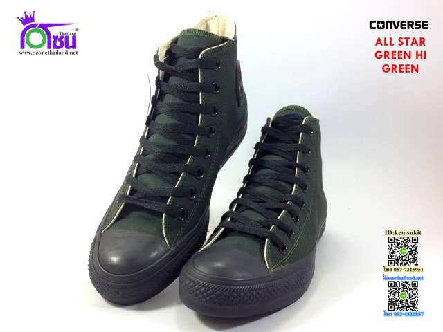 ผ้าใบ Converse All Star Green hi Green สี เขียว เบอร์4-10