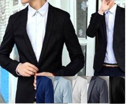 ขาว ดำ !! เสื้อสูทแฟชั่นผู้ชาย ทรงสลิมฟิต ปกเปิด สุดคุ้ม Size No.36 40 42 ขาว ดำ
