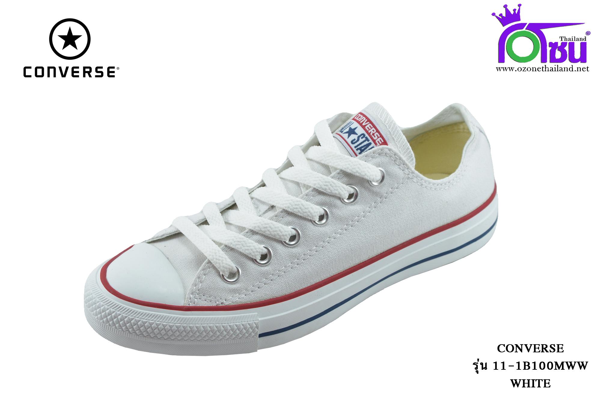 ผ้าใบ Converse All Star Dainty OX Sneakers (รุ่นคลาสสิค) สีขาวขลิบแดง