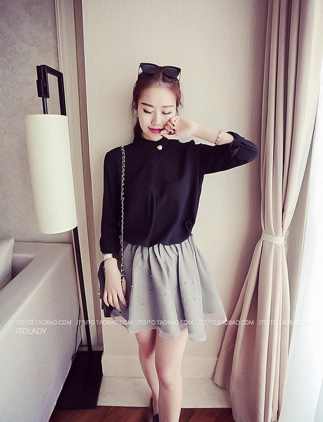 เสื้อแฟชั่นเกาหลี ทรงคอจีนติดกระดุมข้าง แขนยาว เสื้อทรงสุภาพ สีดำ