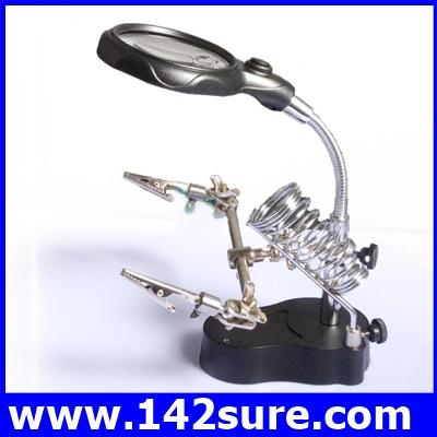 DLT011 กล้องส่องขยาย กล้องขยายชิ้นงาน 3.5x&12X 3rd Helping Hand Clip LED Magnifying Soldering IRON STAND Len Magnifier ยี่ห้อ OEM รุ่น