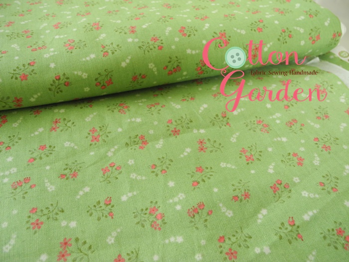 คอตตอนเกาหลีลายดอกไม้เล็กๆ โทนเขียว เนื้อผ้านิ่มตัดเสื้อได้ เหมาะกับงานผ้าทุกชนิด