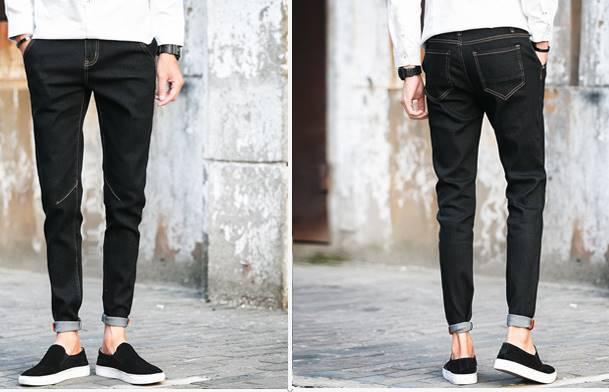 น้ำเงิน ดำ!!กางเกงยีนส์พับขา 5ส่วน เดฟ แฟชั่น ทรงฟิตเข้ารูป กระเป๋าปะเย็บเฉียง No.27-36 น้ำเงิน ดำ