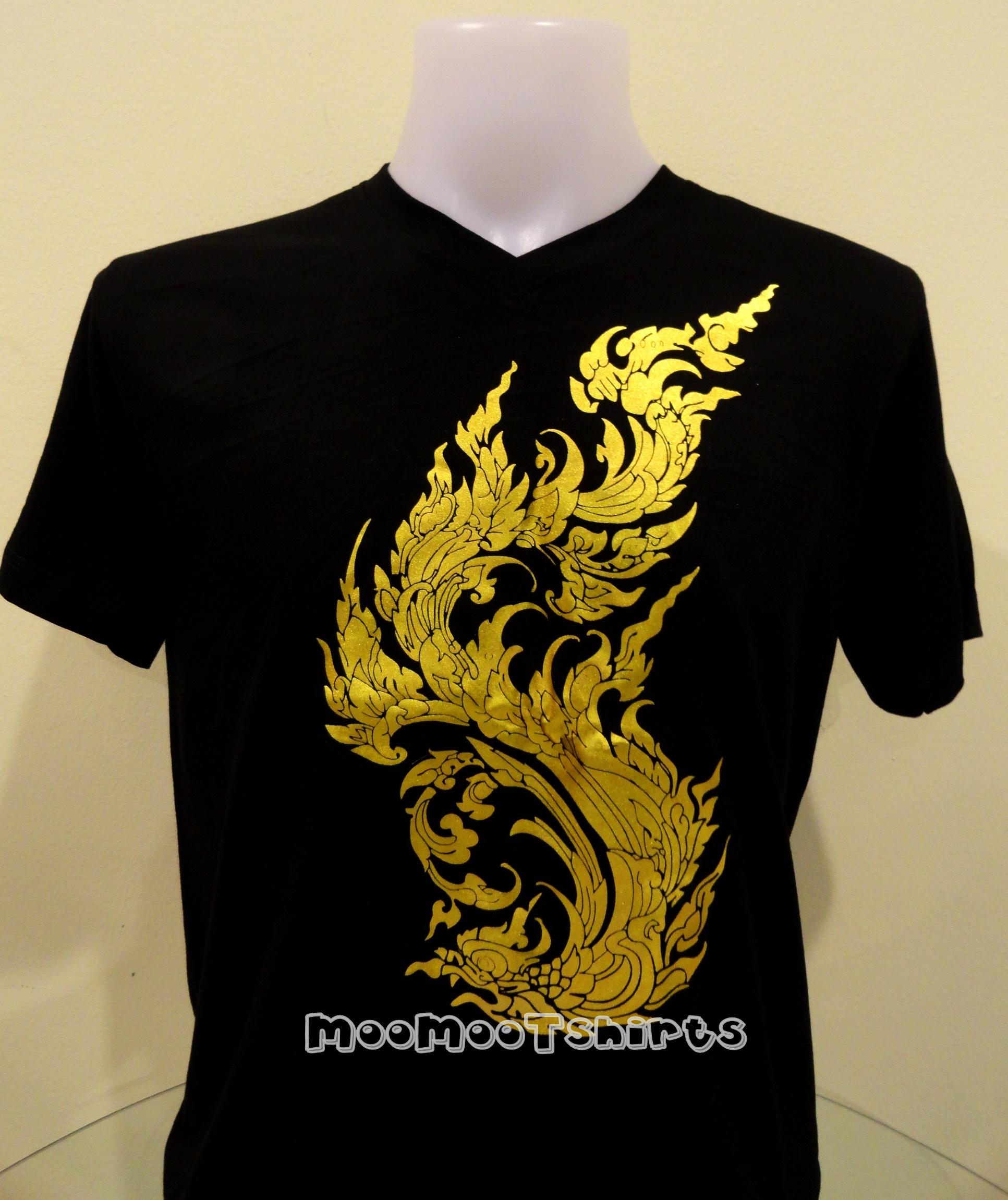 เสื้อดำพิมพ์ลายสีทอง ลายไทย งานแบบบล็อคสกรีน หรือซิลด์สกรีนสวยๆ
