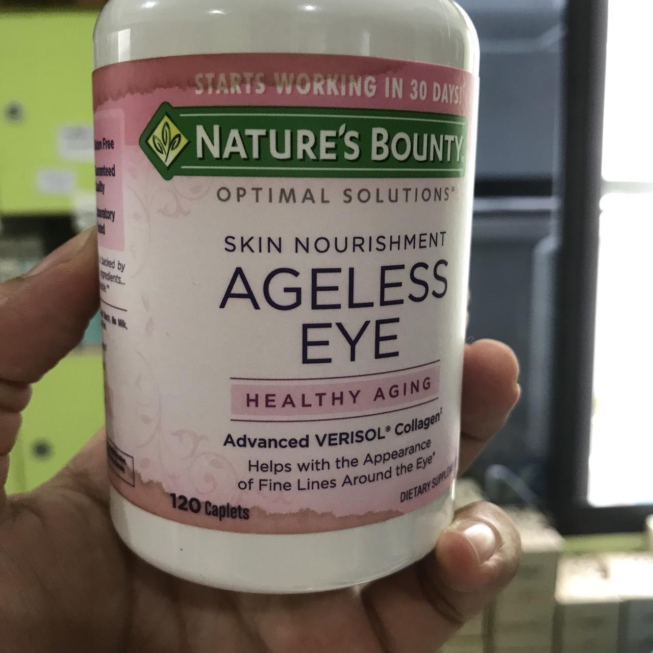 # ใต้ตา ฉลากเปื้อน # Nature's Bounty, Optimal Solutions, Ageless Eye Skin Nourishment, 120 Caplets