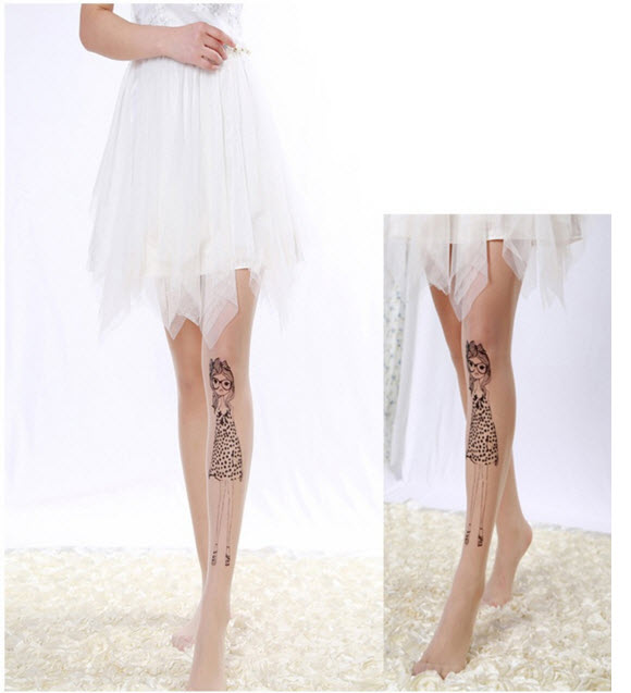 [พร้อมส่ง] T5394 ถุงน่องสีเนื้อ พิมพ์ลายผู้หญิงใส่ชุดเดรสน่ารักๆ Girl with Dress