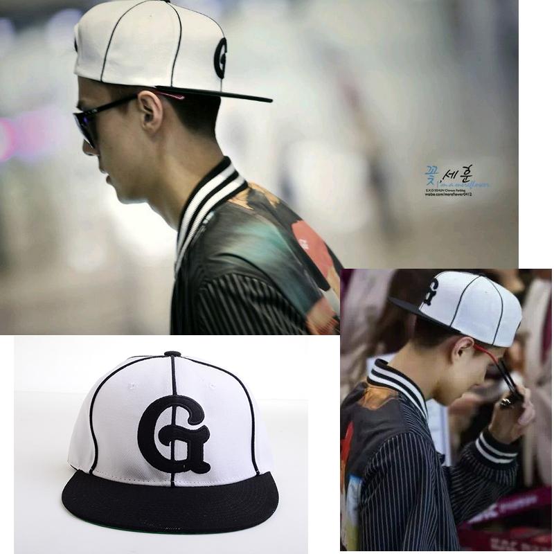 หมวกแฟชั่น EXO SEHUN Vintage G สีขาว