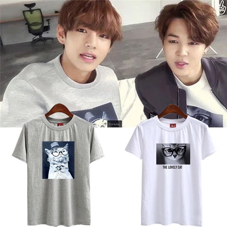 เสื้อยืด (T-Shirt) ลายแมว แบบ V และ Jimin