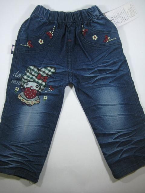CNJ007 กางเกงยีนส์ เด็กหญิง ขายาว ผ้านิ่มใส่สบาย ปักลายกระต่าย my melody ทั้งด้านหน้าและหลัง กระเป๋าหลังสองข้าง Size 15/16
