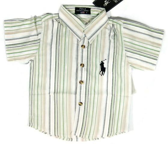 SH114 POLO RALPH LAUREN เสื้อเชิ้ตเด็กแขนสั้น ผ้าคอตตอน นิ่ม พริ้วนิด ๆ ลายริ้วสลับสี โทนเขียวอ่อน ปักม้าตรงอก ผ้ามีลายในตัว เหลือ Size 8