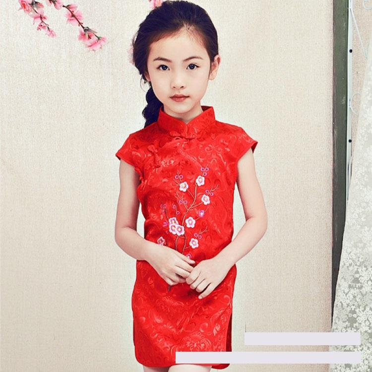 ชุดกี่เพ้าสีแดง แพ็ค 6 ชุด [size 2y-3y-4y-5y-6y-7y]