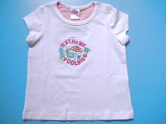EXTG006 Extreme Girl เสื้อยืดเด็กหญิงเนื้อนิ่ม สีขาว ปักลาย EXTREME POOLSIDE เหลือ Size 24M