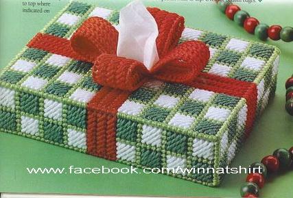 ชุดปักแผ่นเฟรมกล่องทิชชูทรงยาวลายของขวัญคริสต์มาส
