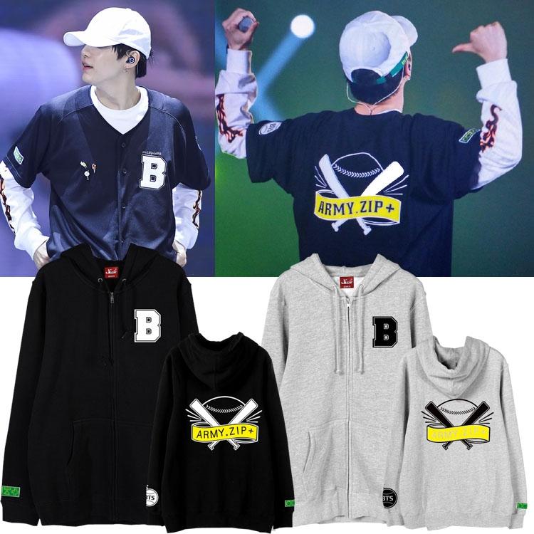 เสื้อฮู้ดซิปหน้า (Hoodie) ลายไม้เบสบอล BTS - ARMY.ZIP